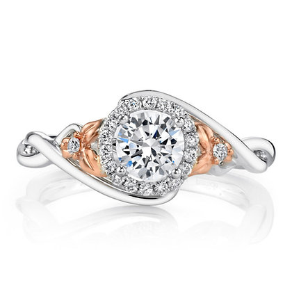 2-Tone Floral Swirl Engagement Ring with Halo