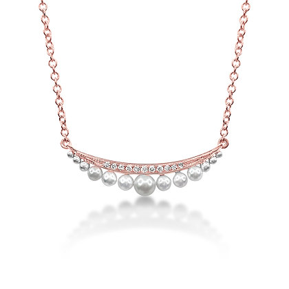 Pearl & Diamond Two-Tone Bar Necklace