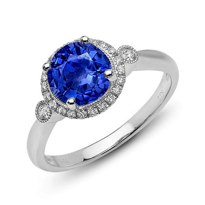Sapphire & Diamond Ring with Milgrain