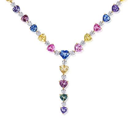 "Heart Sapphire & Diamond ""Y"" Necklace"