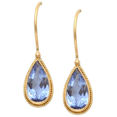 Blue Beryl Teardrop Earrings
