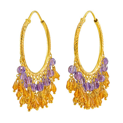 Amethyst & Citrine Dangle Hoops