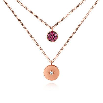 2-Row Ruby & Diamond Necklace