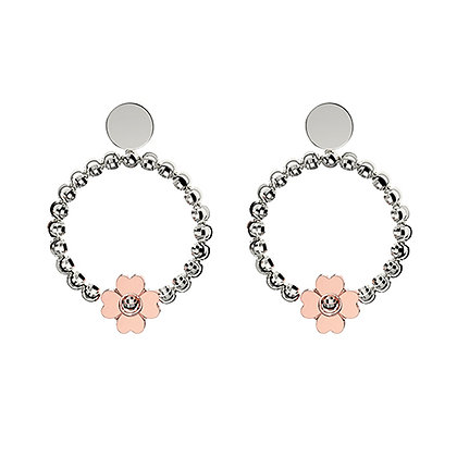 Floral Open Circle Earrings