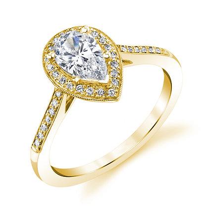 Pear-shape Milgrain Border Engagement Ring