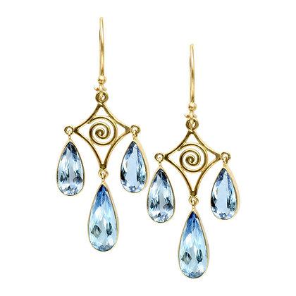 Blue Beryl Pearshape Drop Dangle Earrings