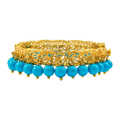 Turquoise and Swiss Lace Bracelet