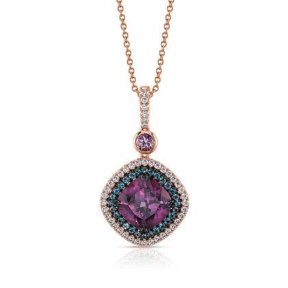 Purple Spinel, Alexandrite & Diamond Pendant