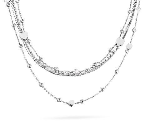 3-Strand Heart Station Necklace