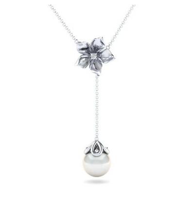 Floral Pearl Drop Necklace