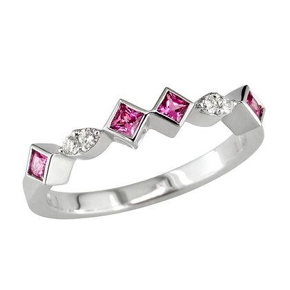 Pink Sapphire & Diamond Stacking Ring