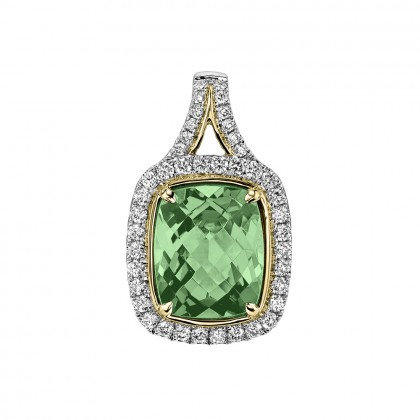 Green Tourmaline & Diamond Pendant