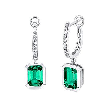 Diamond Huggies with Emerald Dangle