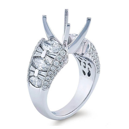 Semi-Mount Multi-shape Diamond Sides Engagement Ring
