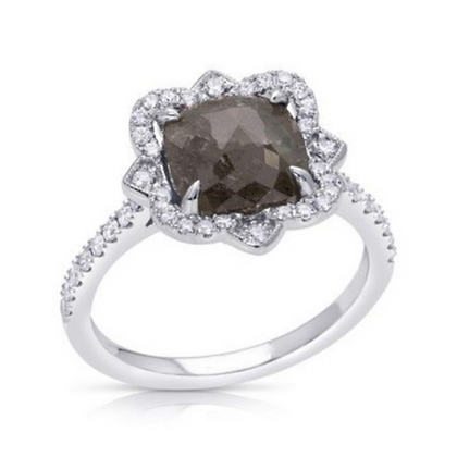 Cushion Rose Cut Grey Diamond Ring
