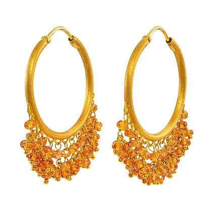 Orange Sapphire Bead Dangle Hoops