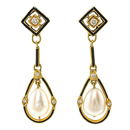 Pearl & Diamond Drop Earrings with Black Enamel