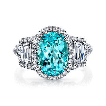 Paraíba Tourmaline & Diamond 3-Stone Ring
