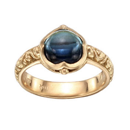Blue Tourmaline Cabochon Ring