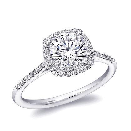 Cushion-Shaped Halo Engagement Ring