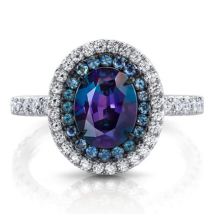 Alexandrite & Diamond Double Halo Ring