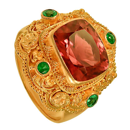 Topaz & Emerald Filigree Ring