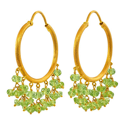Peridot Bead Dangle Hoops