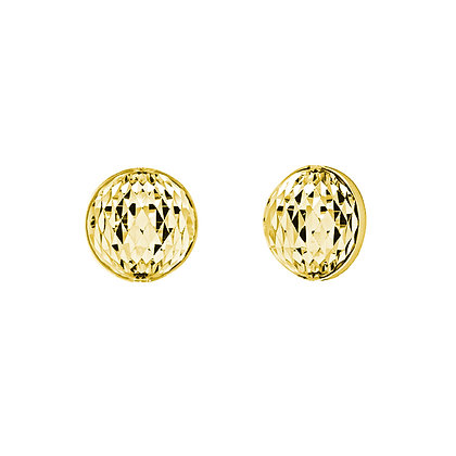 Diamond-Cut Button Stud Earrings