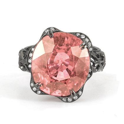 Pink Topaz Blackened Filigree Ring