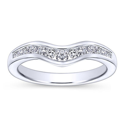 Curved Channel Set Wedding Band