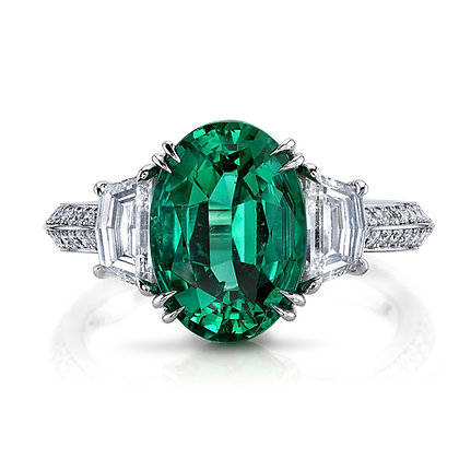 Oval Emerald & Diamond 3-Stone Ring