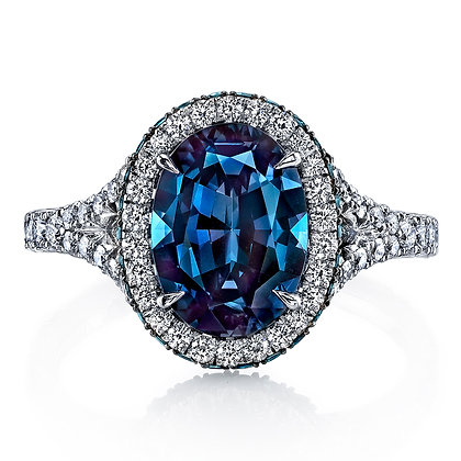 Alexandrite & Diamond Split Shank Ring