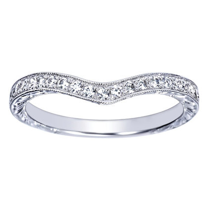 Platinum Curved Milgrain Wedding Band