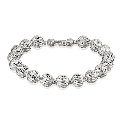 Large Diamond-Cut Bead Bracelet