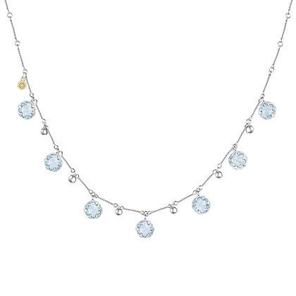 Blue Topaz & Bead Dangle Necklace
