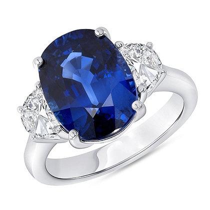 Oval Sapphire & Half-Moon Diamond Side-Stones Ring