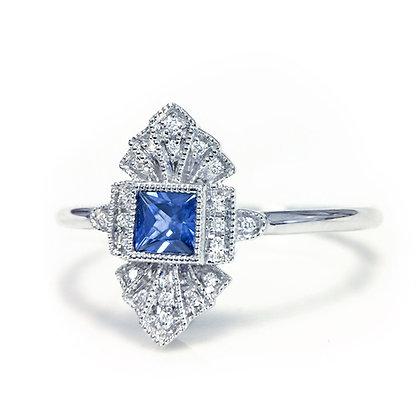 Square-cut Sapphire Mini Shield Ring