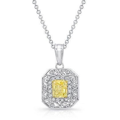 Radiant Yellow Diamond Filigree Pendant