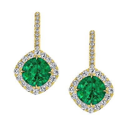 Emerald & Diamond En Pointe Drop Earrings