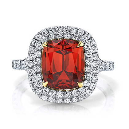 Spessartite Garnet Cushion Ring