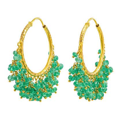 Emerald Bead Dangle Hoops