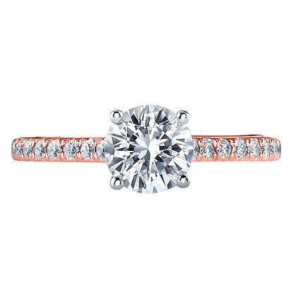 Round Micro Pavé Semi Mount Engagement Ring