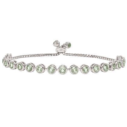 Green Sapphire Bezel-Set Bracelet