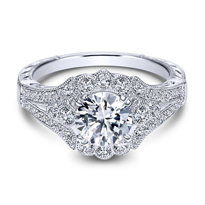 """Vintage"" Style Halo Engagement Ring"