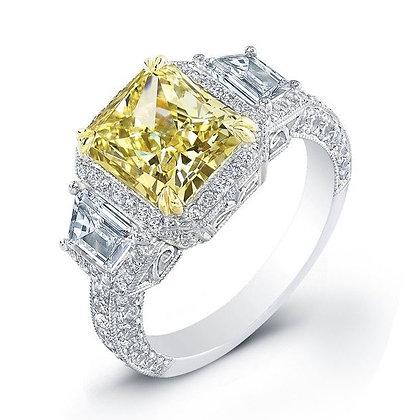 Yellow Diamond Ring with Princess Cut Diamond Sides