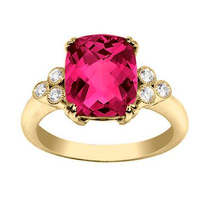 Cushion Spinel & Diamond Ring