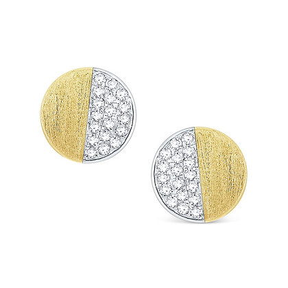Half-Diamond Half-Matte Stud Earrings