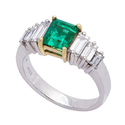 Emerald & Baguette Diamond Ring