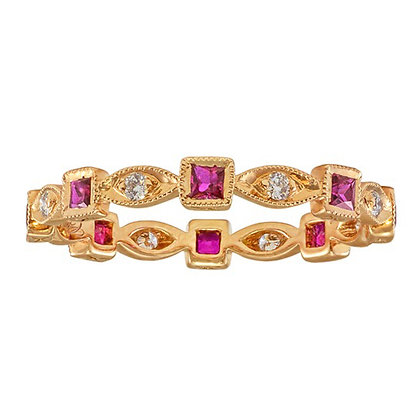 Ruby & Diamond Milgrain Band