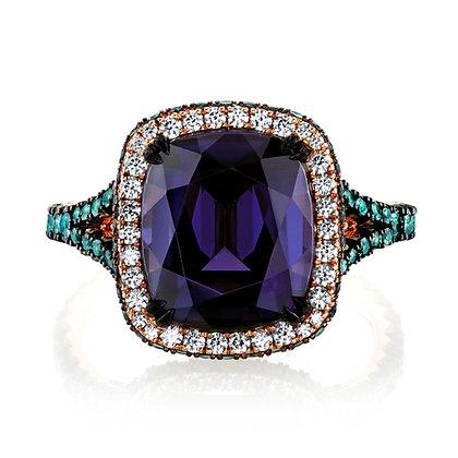 Purple Spinel, Alexandrite, & Diamond Ring